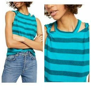 FREE PEOPLE The Twist Striped Tank Top NWT Large
